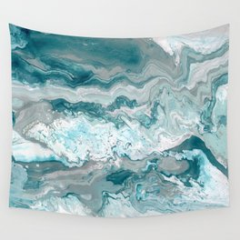 Teal Shoreline Abstract Painting Wall Tapestry
