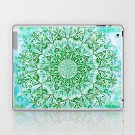 Ocean Aqua Blue Watercolor Mandala , Relaxation & Meditation Turquoise Flower Circle Pattern Laptop & iPad Skin
