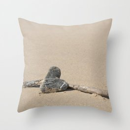Stone Heart On The Beach Throw Pillow