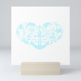 A Nice Heart Anchor Design For Sailors Marine Captain T-shirt Design Cruise Harbor Coast Guard Mini Art Print