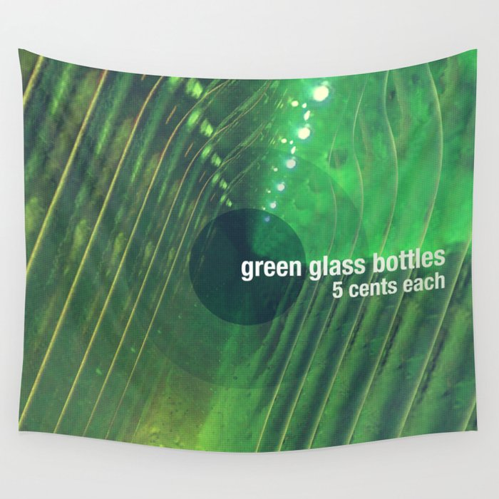 Green Glass Bottles Wall Tapestry