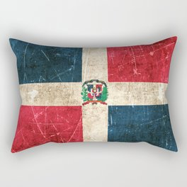 Vintage Aged and Scratched Dominican Flag Rectangular Pillow