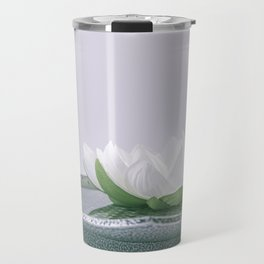 white lotus flower in a green bowl; wisteria white background Travel Mug