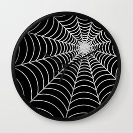 Spiderweb | Silver Glitter Wall Clock
