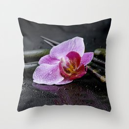 Pink orchid zen black still life Asia Throw Pillow