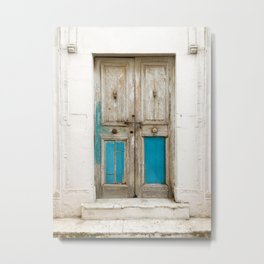 Old wooden door with turquoise paint residue Metal Print
