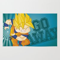 dbz Area & Throw Rugs featuring Goku SSJ  by Juan David Giraldo Ramirez