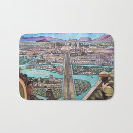Mural of the Aztec city of Tenochtitlan by Diego Rivera Bath Mat