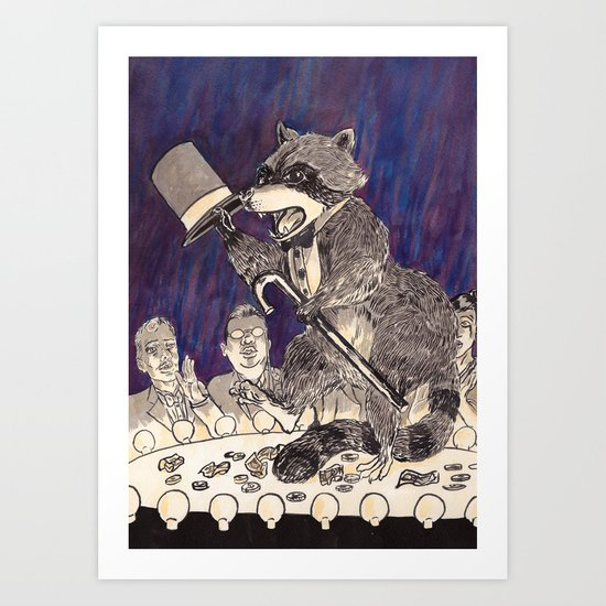 Dapper Raccoon Art Print
