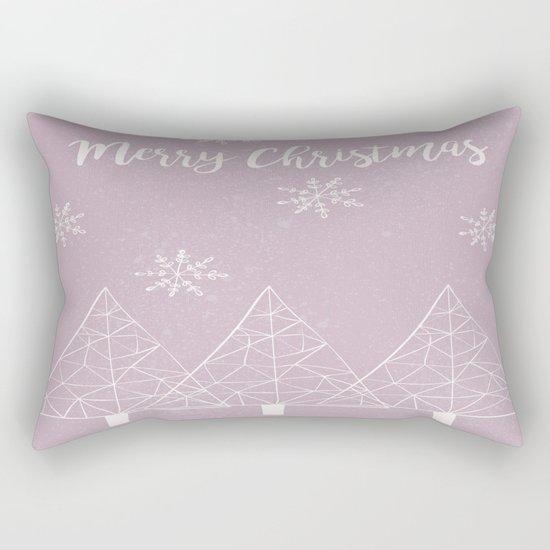 Merry Christmas Pink Rectangular Pillow