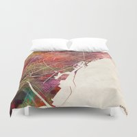 barcelona Duvet Covers featuring Barcelona by MapMapMaps.Watercolors