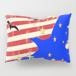 JULY 4TH PATRIOTIC BLUE EAGLE & STARS Pillow Sham