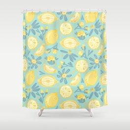 Lemon Pattern Mint Shower Curtain
