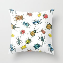 Beetles, watercolor and ink Throw Pillow