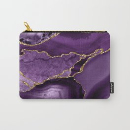 Glamour Purple Bohemian Watercolor Marble With Glitter Veins Carry-All Pouch