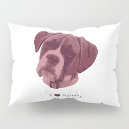 I love my dog - Boxer, pink Pillow Sham