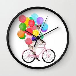 Fashion Llama Riding with Colourful Balloons Wall Clock