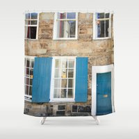 doors Shower Curtains featuring Teal Doors by Ashley Williamson