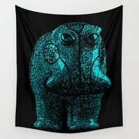 hippo Wall Tapestries featuring Blue Hippo by bronzarino