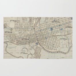 Vintage Map of Des Moines IA (1875) Rug