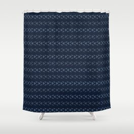 Abstract Indigo Blue Dye Lines Shower Curtain