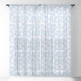Mini Baby Blue Retro Flowers White Background #decor #society6 #buyart Sheer Curtain