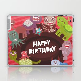 Happy birthday Funny monsters card Laptop & iPad Skin