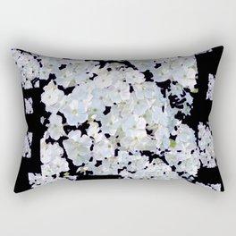 MODERN ART BLACK & WHITE FLORAL GARDEN Rectangular Pillow