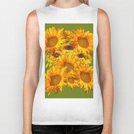 Avocado Color Sunflowers Abstract Art Biker Tank