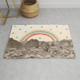 Canyon Desert Rainbow // Sierra Nevada Cactus Mountain Range Whimsical Painted Happy Stars Rug