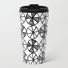 Cogs and Wheels Black and White Travel Mug