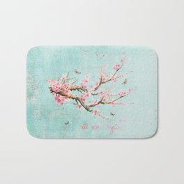 Its All Over Again - Romantic Spring Cherry Blossom Butterfly Illustration on Teal Watercolor Bath Mat