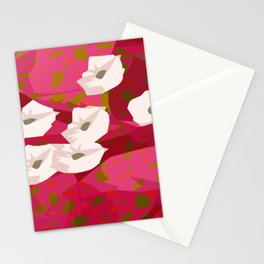 White Flowers Abstract Design Stationery Cards