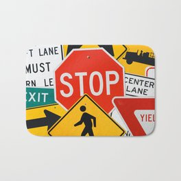 Road Traffic Sign Collage Bath Mat