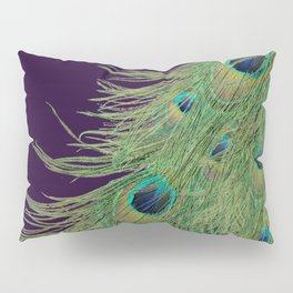 Peacock Feathers on Purple Background Pillow Sham