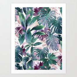 Tropical Emerald Jungle in light cool tones Art Print