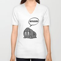 walrus V-neck T-shirts featuring Angry Walrus by Joe Hilditch