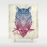 strong Shower Curtains featuring Evening Warrior Owl by Rachel Caldwell