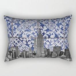New York City Manhattan Skyscrapers Meet Portuguese Tiles - Azulejo Blue and White Floral Leaf Design Rectangular Pillow