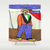 clown Shower Curtains featuring clown by Karl-Heinz Lüpke