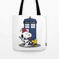 snoopy Tote Bags featuring Snoopy Who by plasticdoughnut