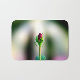 Red Rose Bud In Heavenly Light Bath Mat