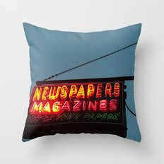 Vintage Neon Newstand Sign ~ Chicago Architecture Throw Pillow