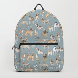 Hound dogs pattern on blue Backpack
