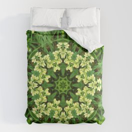 Cream and green botanical mandala - Baptisia flowers 1 Comforters