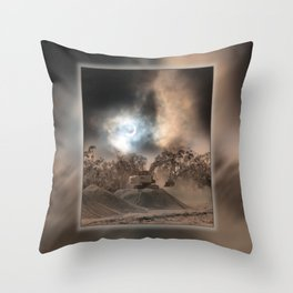 Heavy Duty Earthworks During An Eclipse Throw Pillow