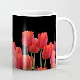 Red tulips on black background #society6 #tulips Coffee Mug