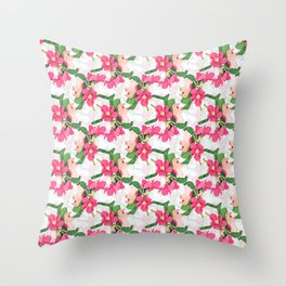 Pink Cherry Blossom paint white pattern Throw Pillow