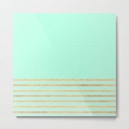 Mint and Gold stripes Metal Print
