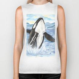 Breaching Orca Whale Watercolor Biker Tank